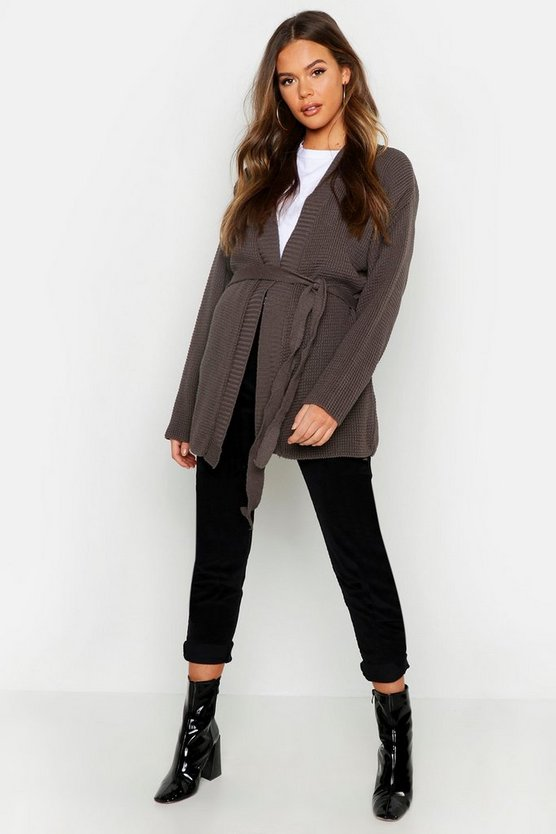 Womens Tobacco Belted Longline Cardigan