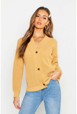 Button Up Waffle Knit Cardigan, Camel, Donna
