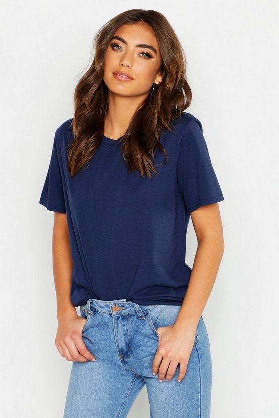 Womens Navy Oversized T-Shirt