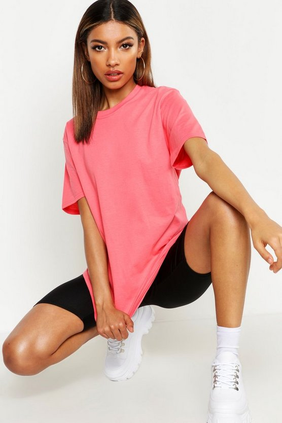 Womens Coral Oversized T-Shirt