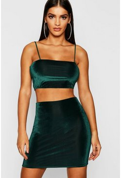 Emerald Velvet Strappy Crop + Mini Skirt Co-Ord