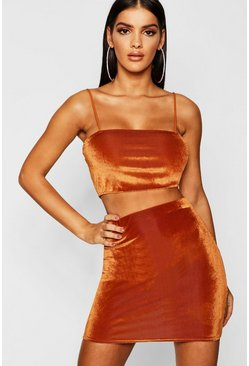 Womens Rust Velvet Strappy Crop + Mini Skirt Co-Ord