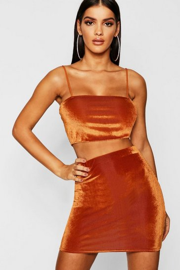 Womens Rust Strappy Crop + Mini Skirt Co-Ord