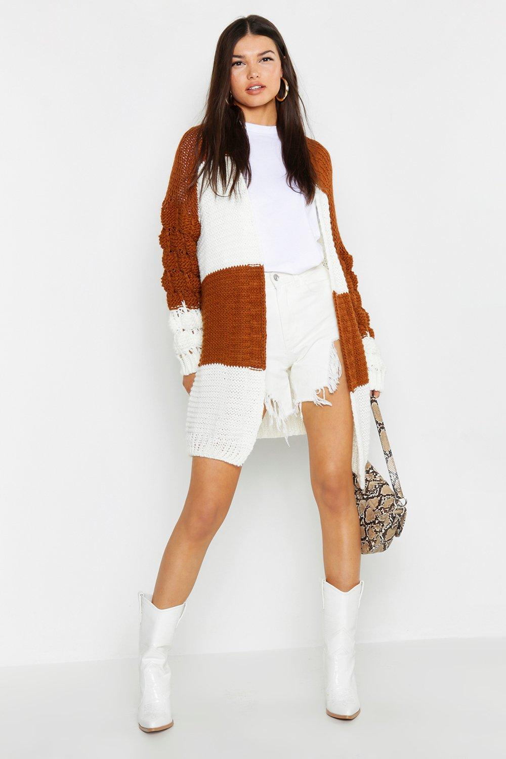 Bobble Sleeve Colour Block Cardigan