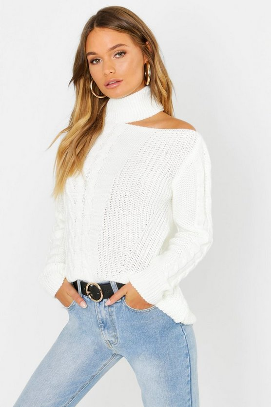 Womens Cream Cable Knit Cut Out Shoulder Sweater