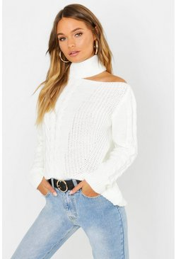 Womens Cream Cable Knit Cut Out Shoulder Jumper