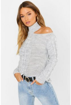 Silver Cable Knit Cut Out Shoulder Jumper