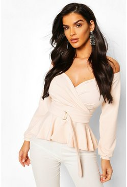 Blush Crepe Off The Shoulder Wrap Peplum Top