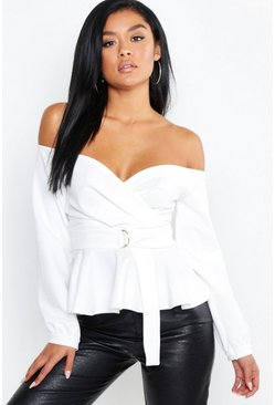 Womens Ivory Crepe Off The Shoulder Wrap Peplum Top