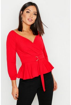 Womens Red Crepe Off The Shoulder Wrap Peplum Top