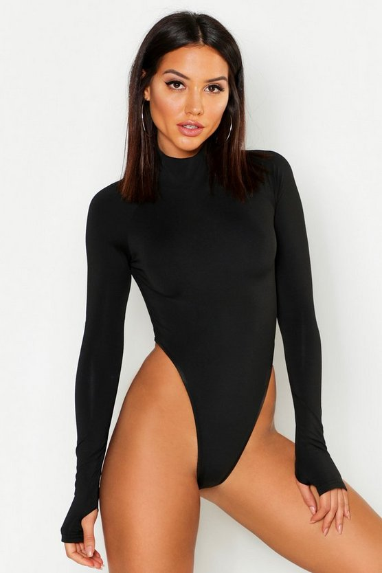 Black Premium High Leg Turtle Neck Bodysuit