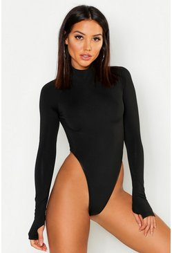 Womens Black Premium High Leg Turtle Neck Bodysuit