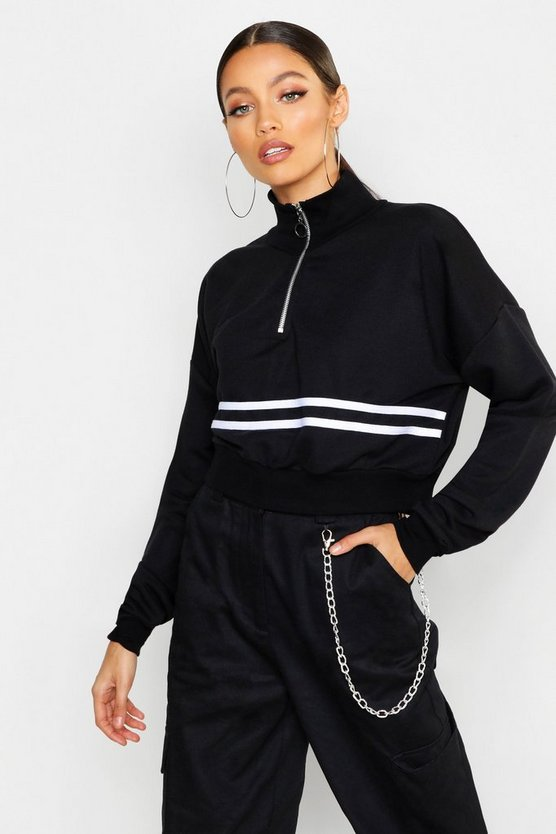High Neck Zip Front Crop Sweat