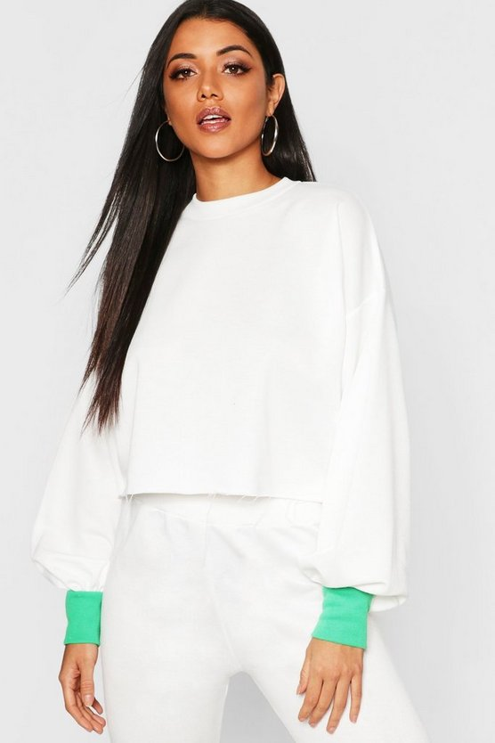 Womens White Contrast Cuff Balloon Sleeve Sweat