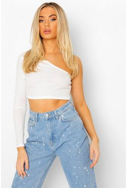 White Basic enaxlad crop top i ribbat material
