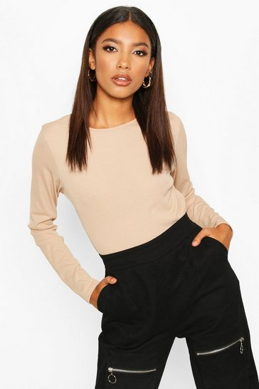 Womens Stone Rib Long Sleeve Basic Crew Neck Top