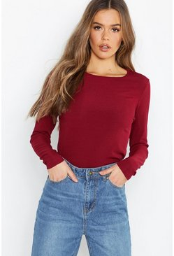 Wine Rib Long Sleeve Basic Crew Neck Top