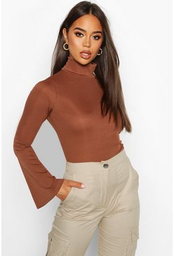 Womens Chocolate Rib Turtle Neck Flare Sleeve Top