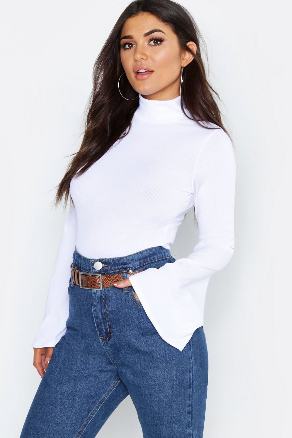 828a86f59ca687 Womens White Rib Turtle Neck Flare Sleeve Top. Hover to zoom