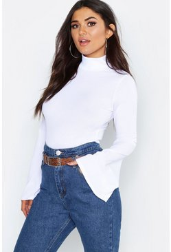 Womens White Rib Turtle Neck Flare Sleeve Top