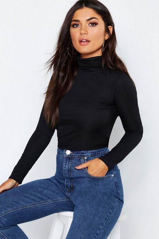 Rib Turtle Neck Long Sleeve Top