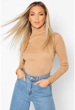 Camel Rib Turtle Neck Long Sleeve Top
