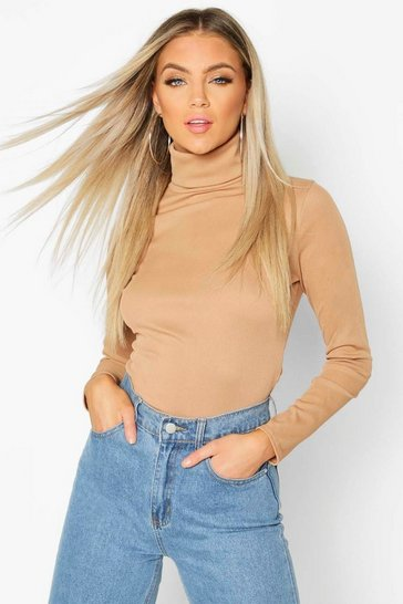 Womens Camel Rib Turtle Neck Long Sleeve Top