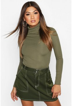 Khaki Rib Turtle Neck Long Sleeve Top