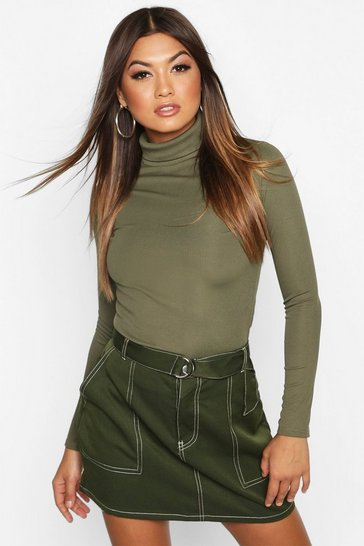 Womens Khaki Rib Turtle Neck Long Sleeve Top