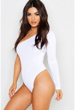 Womens White Rib One Shoulder Basic Bodysuit