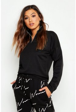 Womens Black Funnel Neck Half Zip Basic Sweat Shirt