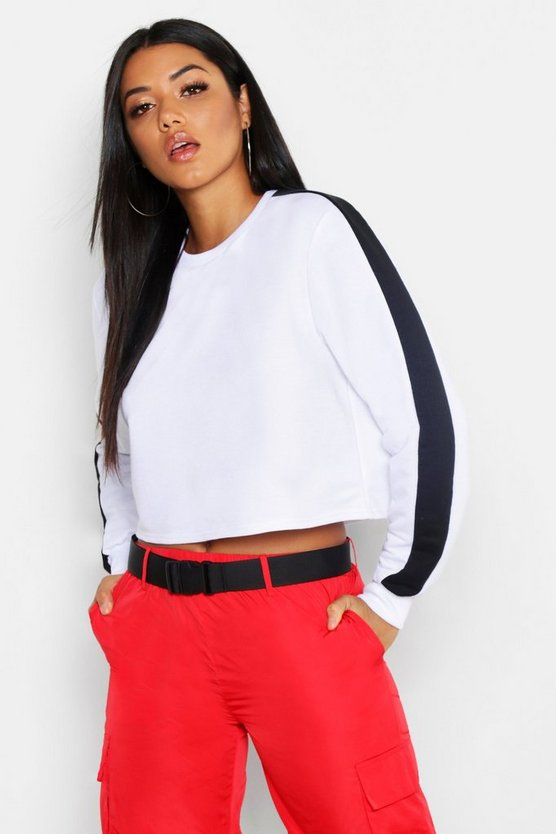 Colour Block Sweat, White, Donna