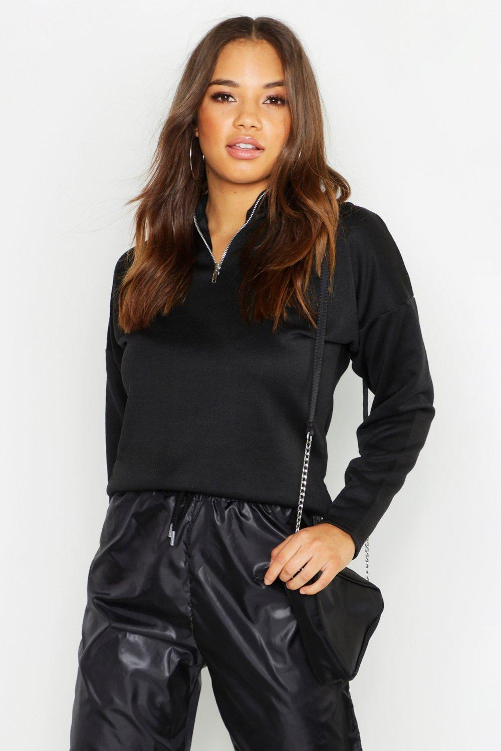 Funnel Neck 1/2 Zip Basic Sweatshirt