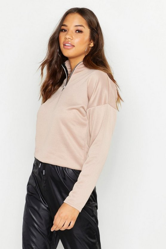 Womens Funnel Neck 1/2 Zip Basic Sweatshirt