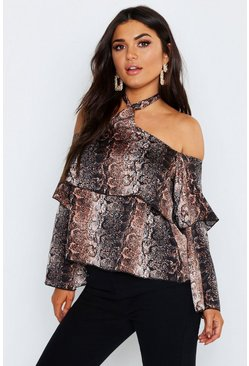 Womens Brown Snake Cold Shoulder Ruffle Woven Top