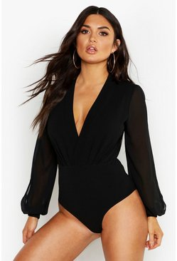 Womens Black Wrap Chiffon Split Sleeve Bodysuit