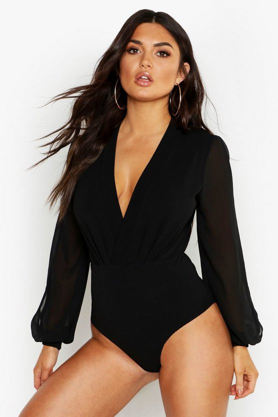 Wrap Chiffon Split Sleeve Bodysuit