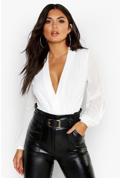 Wrap Chiffon Split Sleeve Bodysuit, White, Donna
