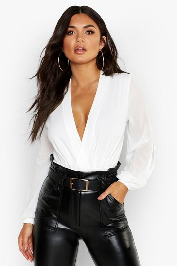 Womens White Wrap Chiffon Split Sleeve Bodysuit