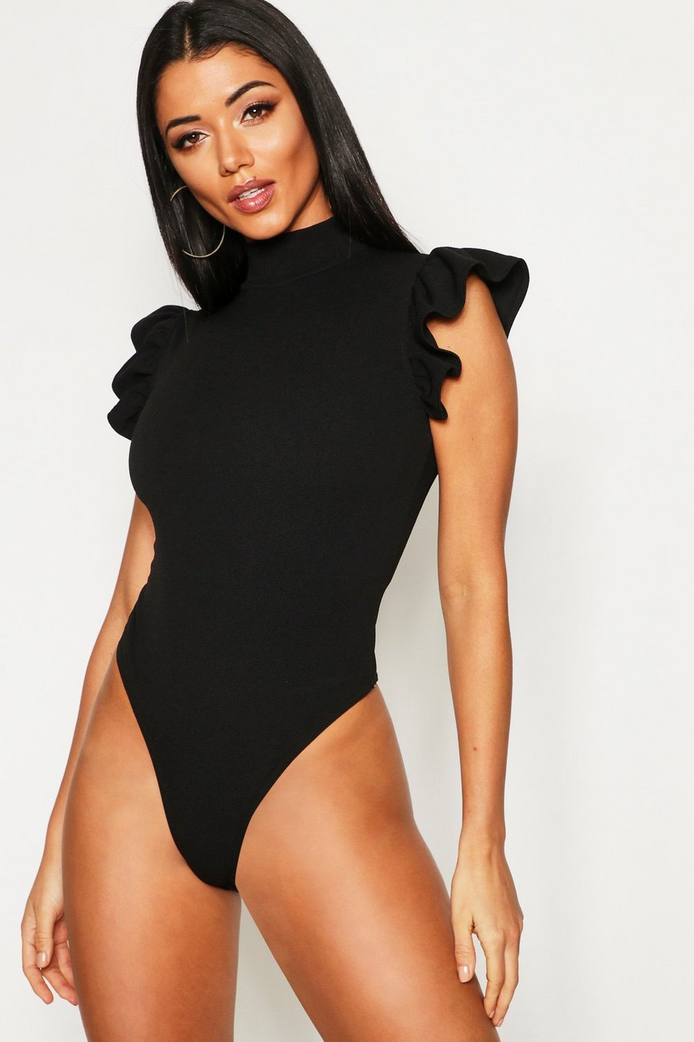af4bf38f24f Womens Black Turtle Neck Frill Sleeve Bodysuit. Hover to zoom