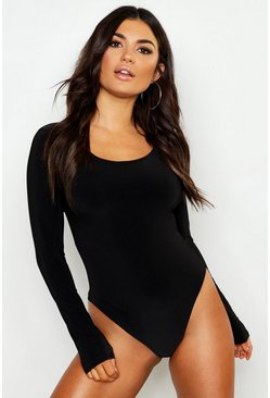Womens Black Slinky Double Layer Plunge Long Sleeve Bodysuit