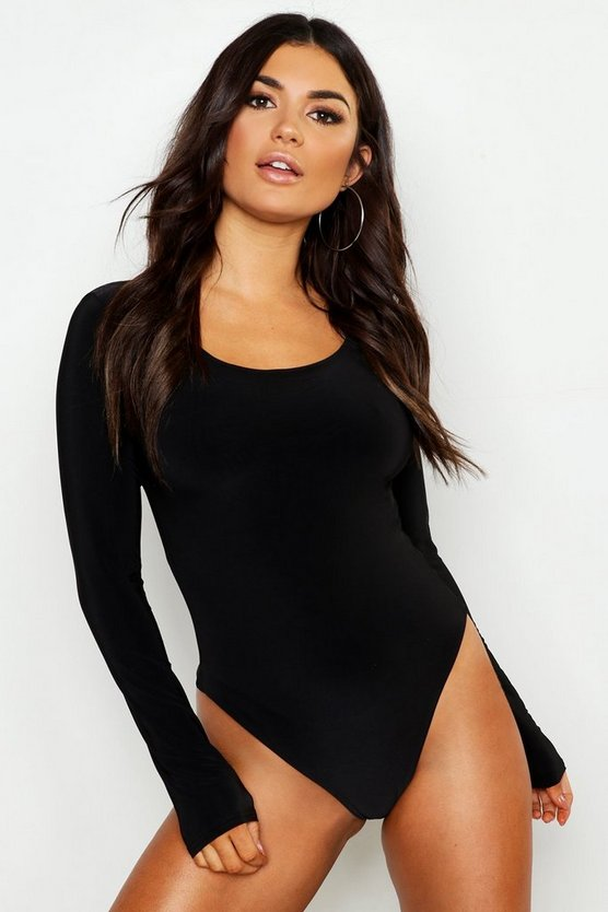 Slinky Double Layer Plunge Long Sleeve Bodysuit