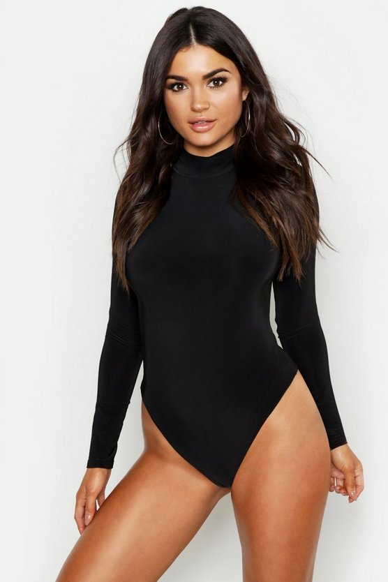 Slinky Double Layer Turtle Neck Long Sleeve Body