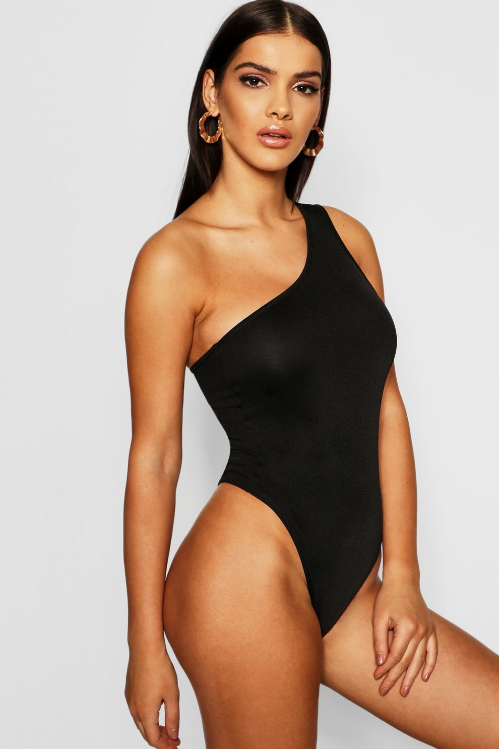 12b14523356 Strappy One Shoulder Crepe Bodysuit | Boohoo