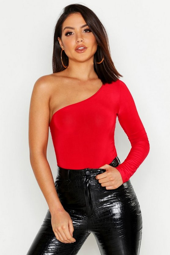 Womens Red Slinky One Shoulder Bodysuit