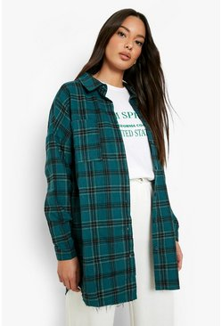 Bottle Oversized Frayed Check Shirt