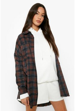 Oversized Pocket Detail Check Shirt, Brown, Donna