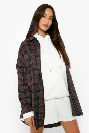 Womens Brown Oversized Pocket Detail Check Shirt