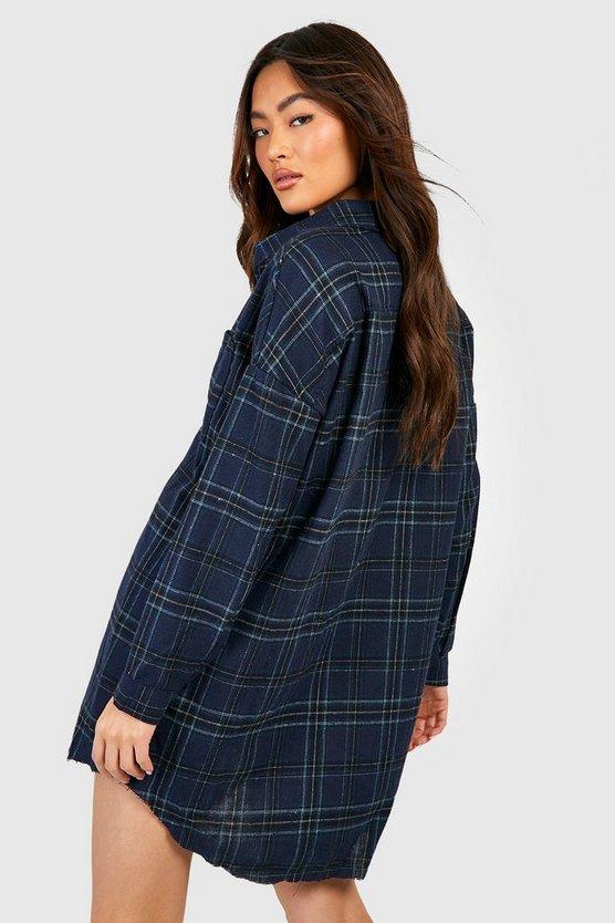 Oversized Frayed Check Shirt