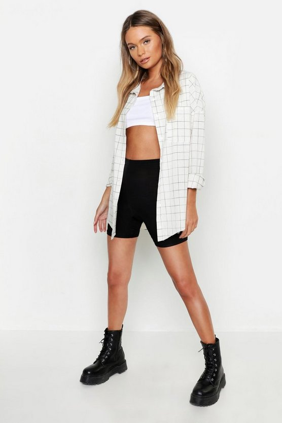 Oversized Grid Print Pocket Detail Shirt